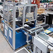 The automated bagging machine at Unipart Technology Logistics individually polywraps and labels product